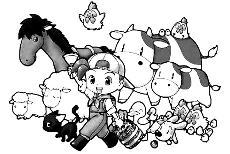 Harvest Moon Free Coloring Print 1